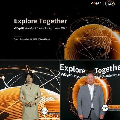 El 23 de septiembre, el lanzamiento de los productos de otoño de 2021 de Absen se llevó a cabo en línea en forma de transmisión en vivo, y se presentaron la nueva generación de productos de visualización Micro LED prémium, soluciones de estudio de cine virtual y tres productos innovadores para clientes globales. (PRNewsfoto/Absen.com)